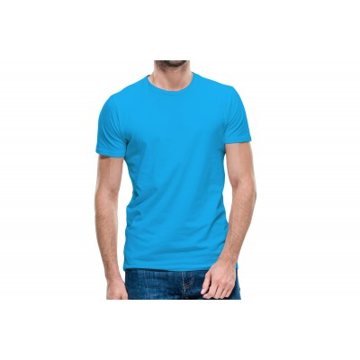 Basic Turquoise Blue Half Sleeve T-shirt