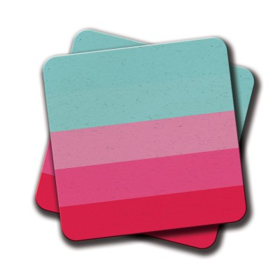Blue Pink lines Coaster - Set Of 2 (4 inch x 4 inch)