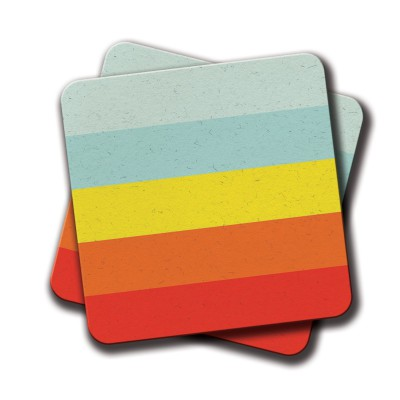 Colourful lines Coaster - Set Of 2 (4 inch x 4 inch)